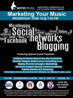 Austin Music Foundation panel Marketing Your Music poster