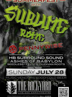 Summerfest 2013 at the Backyard poster with Sublime