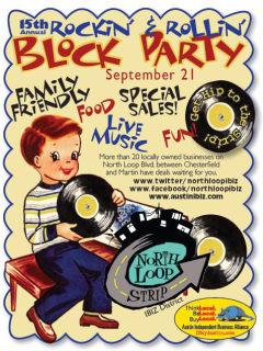 North Loop IBIZ district rockin and rollin block party poster