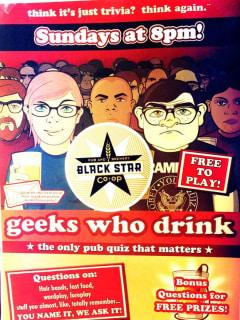Geeks Who Drink beer trivia poster at Black Star Co-op