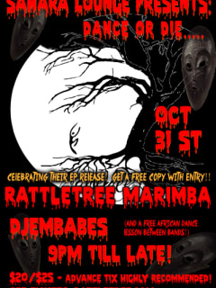 flyer for Rattletree Marimba CD Halloween Release Party