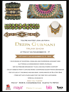 flyer for Deepa Gurnani Trunk Show at Maya Star
