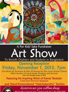flyer for the For Kids' Sake Art Show at Dominican Joe