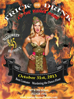 poster for Monster Halloween Ball at Russian House
