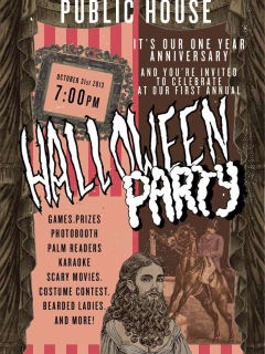 poster for Gourdough's Public House carnival Halloween anniversary party