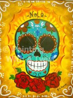 Painting with a Twist Dia de Los Muertos Skull