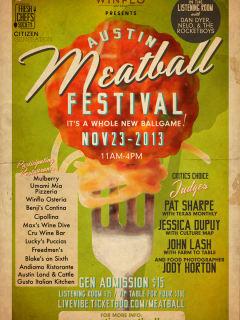 flyer for 2013 Austin Meatball Festival