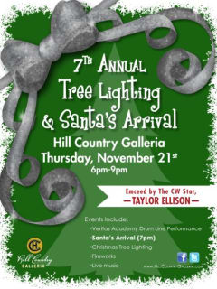 flyer for Hill Country Galleria Tree lighting and Santa's Arrival event