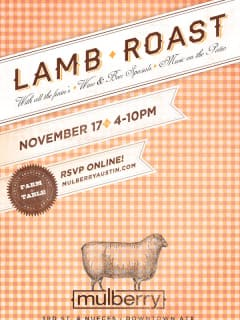 flyer for Mulberry Lamb Roast