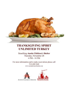 poster for Thanksgiving dinner at Russian House