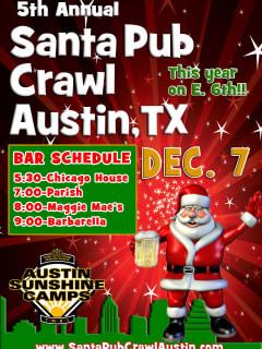flyer for 2013 Santa Pub Crawl on Sixth Street