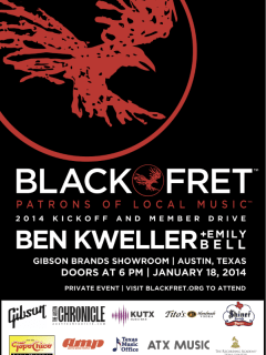 poster for Black Fret launch party membership drive