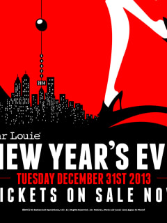 flyer for Bar Louie's NYE Bash for New Year's Eve