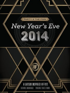 flyer for Blackfinn's New Year's Eve Party with Great Gatsby theme