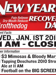 flyer for Flying Saucer Beerknurd New Year's Day Recovery Brunch