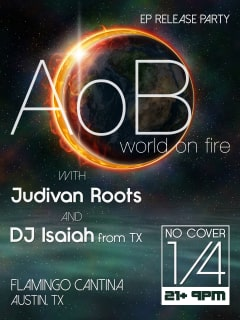 poster for Ashes of Babylon ep release party World on Fire