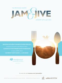 flyer for Travaasa Austin Jam & Jive weekend dinner and brunch