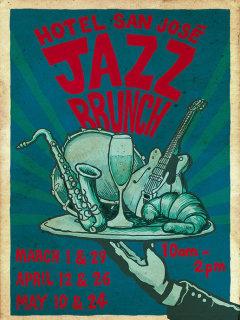 poster for jazz brunch at hotel san jose