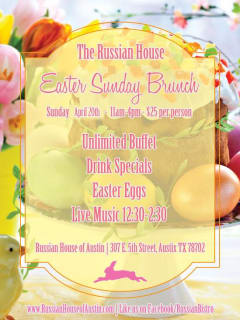 flyer for Easter Sunday Brunch 2014 at Russian House