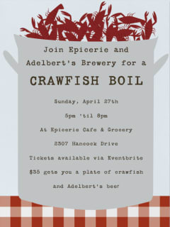 poster for epicerie and adelbert's brewery crawfish boil