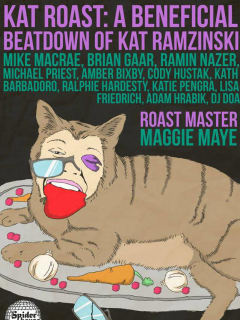 poster for Kat Roast benefit at Spider House for Kat Ramzinski