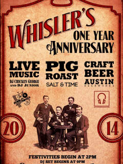 poster for Whisler's one year anniversary party