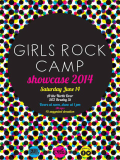 poster for Girls Rock Camp showcase june 2014