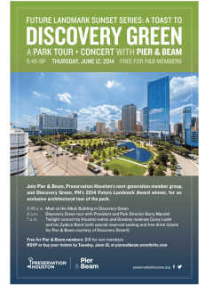 "Pier & Beam hosts ""Future Landmark Sunset Series: a Toast to Discovery Green"""