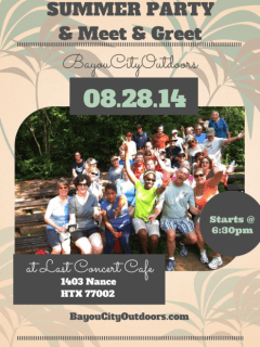 """Bayou City Outdoors hosts """"Summer Party and Meet & Greet"""""""