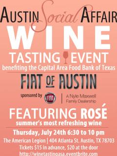 poster for Austin Social Affair summer wine tasting party