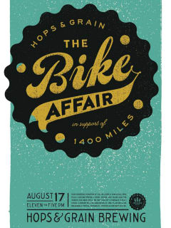 poster Hops & Grain The Bike Affair fundraiser 1400 Miles