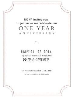 poster No Va Kitchen and Bar one year anniversary
