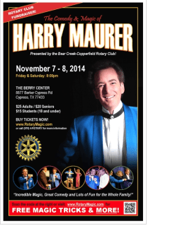 """An Evening of Comedy and Magic at the Berry Center"" benefiting Bear Creek-Copperfield Rotary Club"