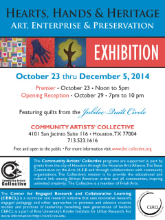 """Community Artists' Collective art opening reception: """"Hearts, Hands and Heritage: Art, Enterprise & Preservation"""""""