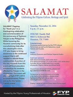 "Filipino Young Professionals of Houston hosts ""Salamat"""