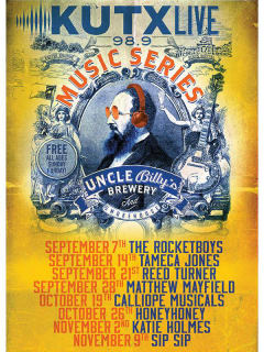 poster KUTX live at Uncle Billy's 2014
