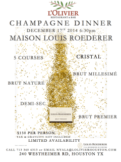 Maison Louis Roederer Champagne Dinner at L'Olivier Restaurant and Bar