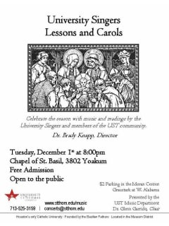 The University of St. Thomas University Singers: Lessons and Carols