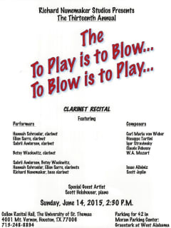 Richard Nunemaker Studios Presents The 13th Annual To Play is To Blow...To Blow is To Play...Clarinet Recital