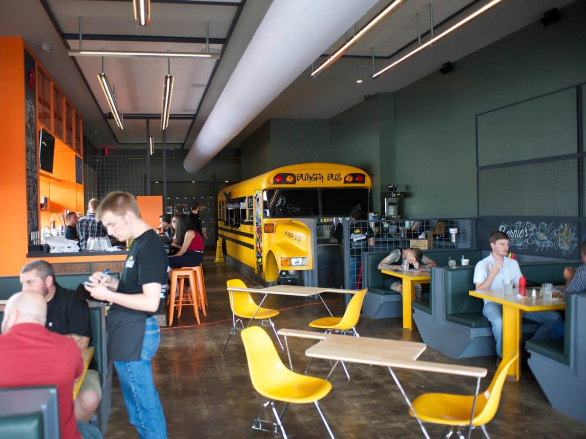 20 first look at Bernie's Burger Bus restaurant June 2014 interior
