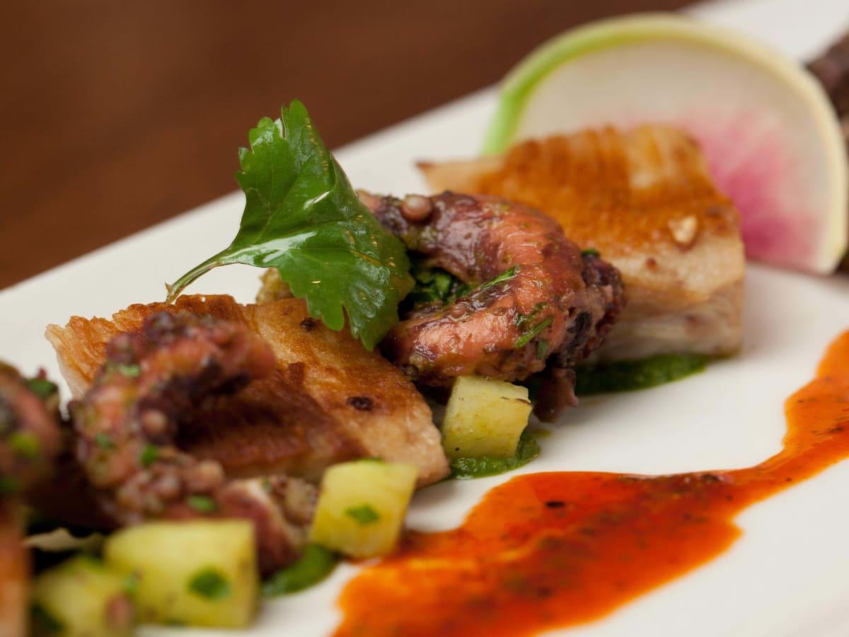 Octopus and pork jowls at Oak restaurant in Dallas