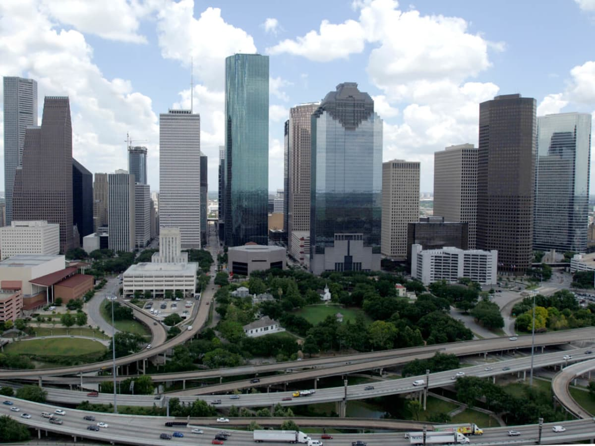 Houston downtown skyline day aerial