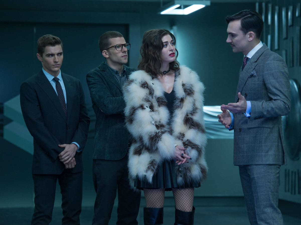 Dave Franco, Jesse Eisenberg, Lizzy Caplan, and Henry Lloyd-Hughes in Now You See Me 2