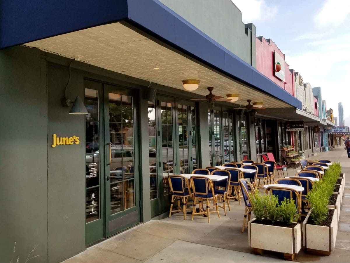 June's All Day restaurant Austin South Congress Avenue SoCo exterior patio
