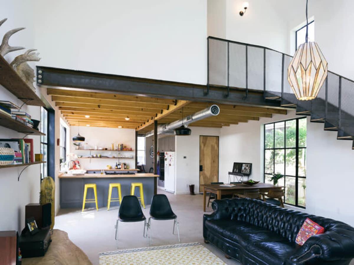 Austin home house Houzz DIY modern Texas farmhouse Garden St living room kitchen