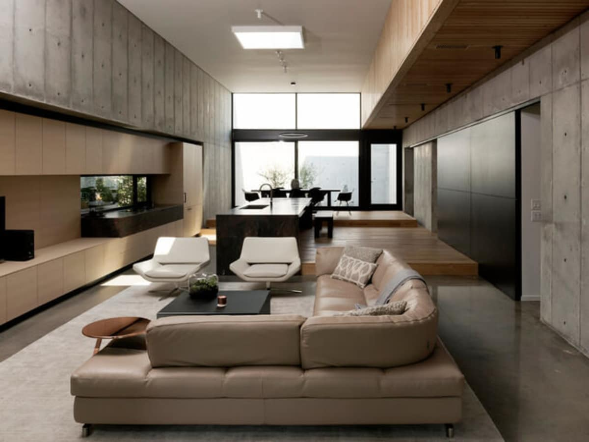 Houzz Houston house home Japanese-style concrete box living room