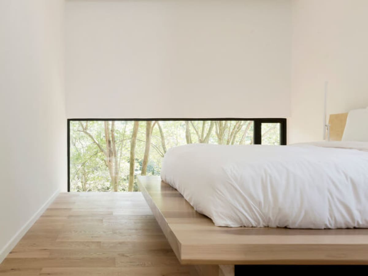 Houzz Houston house home Japanese-style concrete box bedroom