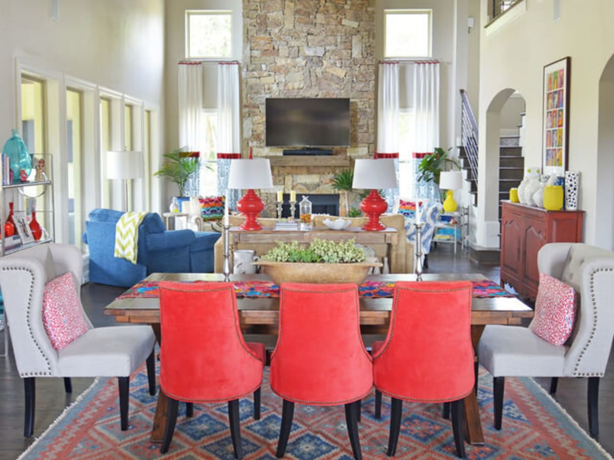 Houzz Forth Worth House Home Color Happy Country Living Dining Room Living