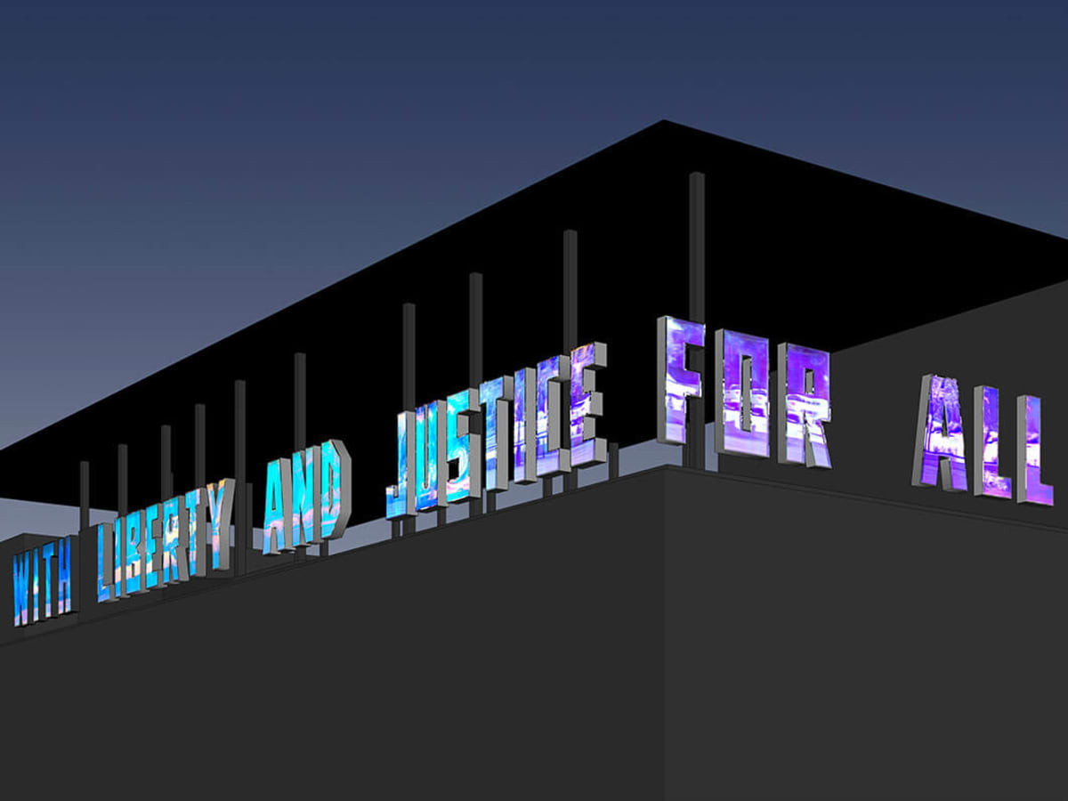 Contemporary Austin Jones Center With Liberty and Justice for All (A Work in Progress)