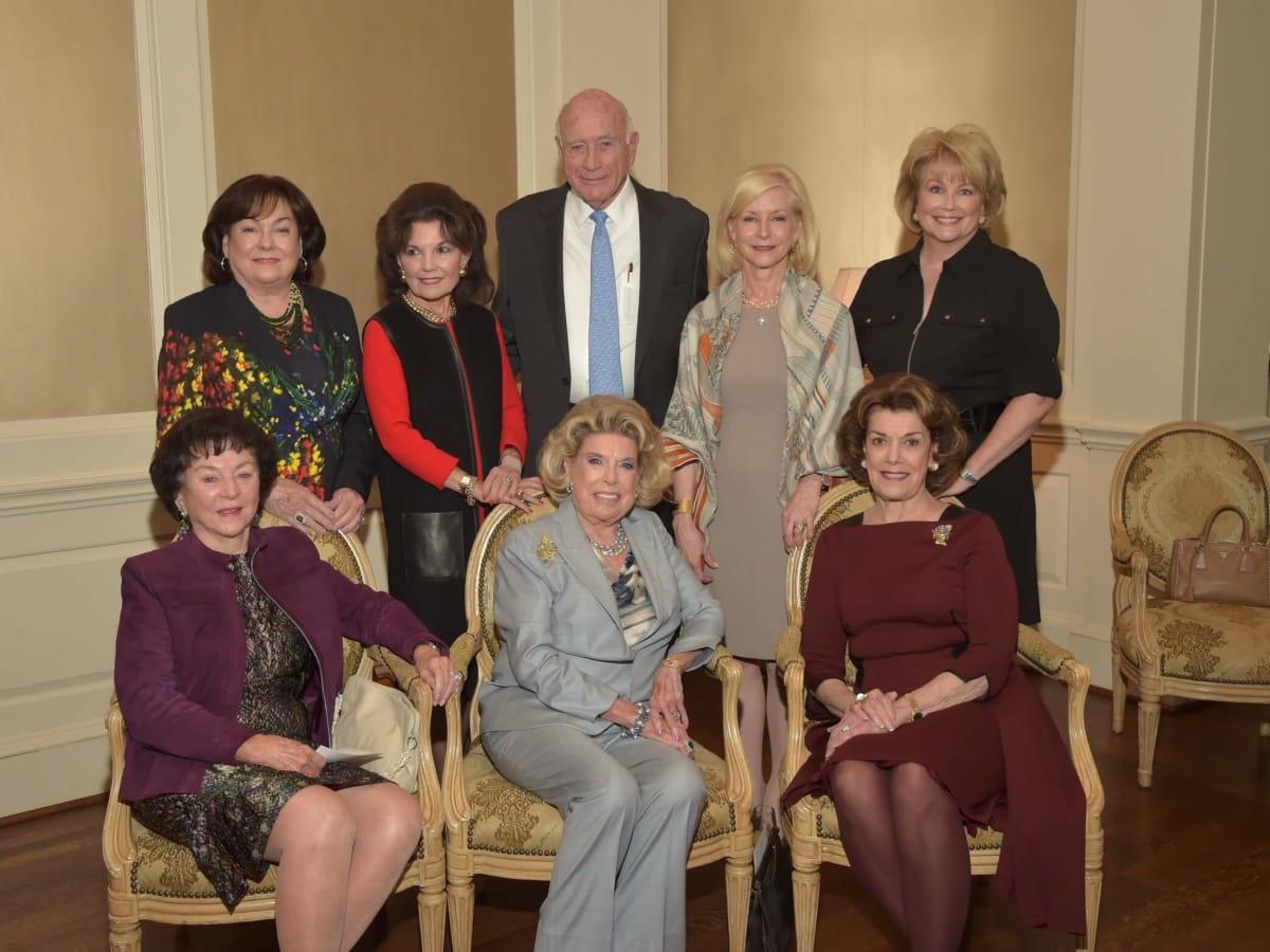 Assistance League luncheon, Seated: Nancy Reynolds, Joan Lyons, Jeanie Kilroy Wilson Standing: Rose Cullen, Linda McReynolds, Truett Latimer, Ann Bookout, Jan Carson